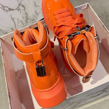 2021 Spring Women Platform Sneakers Fashion Leather High Top Casual Shoes Chunky Vulcanized Shoes Woman Trainers Flats Orange women sneakers leather shoes spring trend casual flats sneakers female new fashion comfort cute heart vulcanized platform shoes