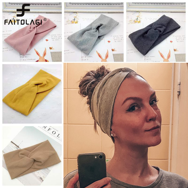 Women Headband Solid Color Wide Turban Twist Knitted Cotton Hairband Spiral Double Girls Makeup Elastic Hair Bands Accessories(China)
