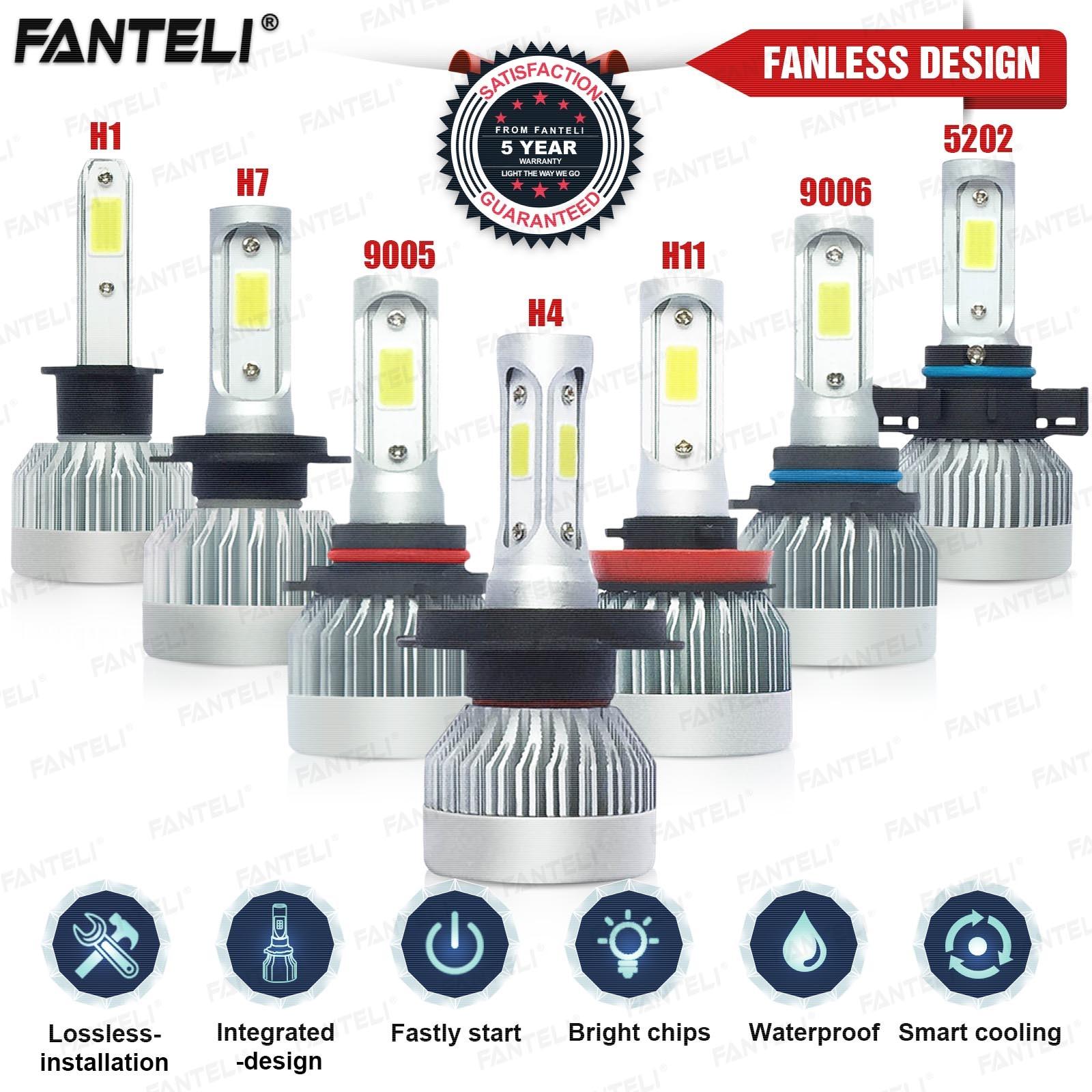 Pair Aluminum H1 60W 6000K White LED Headlamps Driving Light Universal