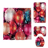 Practical Non Slip Christmas Print Bathroom Shower Curtain and As Picture Mat 1 8 Set