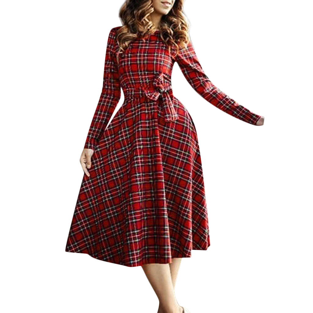 Plaid Vintage Long Sleeve Maxi Dress For Woman Spring Ladies O-Neck Casual Dresses Evening Party Dress Ropa Mujer #LR2