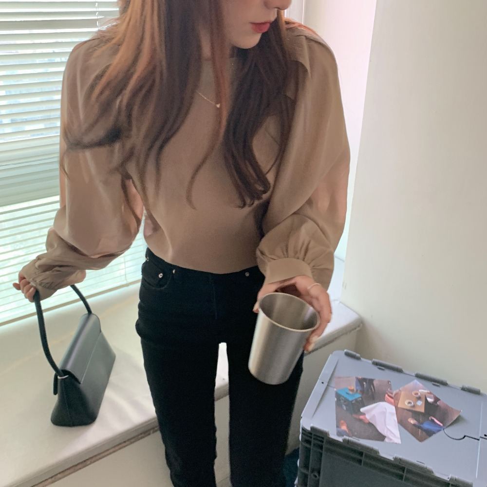 Ha9fa05556c7e43e484fc0771e308e0c9m - Spring / Autumn O-Neck Long Puff Sleeves One-Button Cuffs Loose Solid Blouse