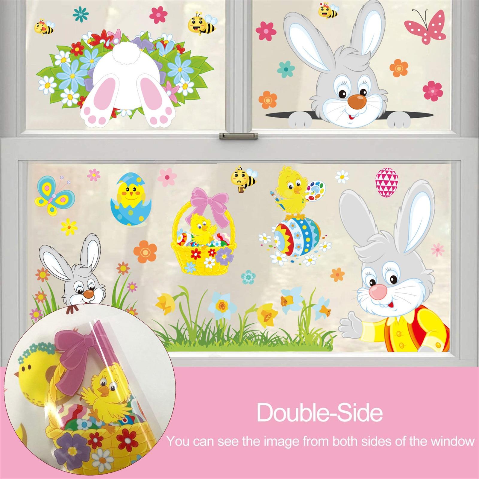 Páscoa dos desenhos animados crianças coelho pintainho etiqueta da janela adesivos de parede para casa decalques decoração ano novo 2021