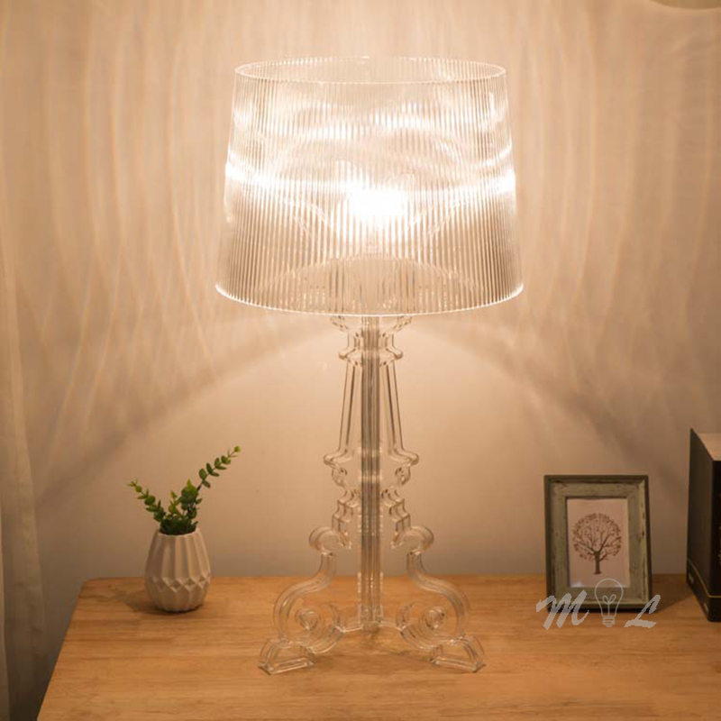 Clear Acrylic Table Lamps For Living Room Beside Lamp Home Deco Desk Lamp All Acrylic Body Lampshade Bedroom Lamp Decoration Led