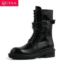 QUTAA 2020 Cow Leather Patent Leather Buckle Antiskid Mid Calf Boots Square Heel Round Toe Lace Up Zipper Women Shoes Size 34 39