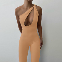 Womens Jumpsuit Solid Color One Shoulder Asymmetric Sleeveless Hollow Bodycon Jumpsuit Outdoor Club Cut Backless Out Rompers