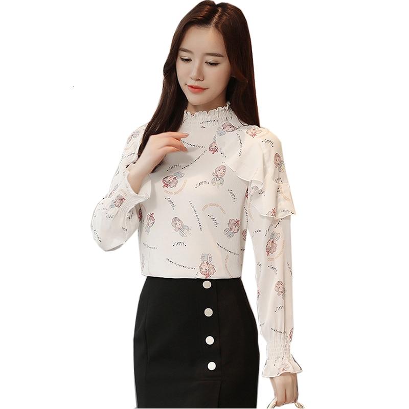 Mousseline de soie Overhemd Elegante Lange Mouw volant épissure chemise décontracté impression en mousseline de soie chemise de grande taille Losse Vrouwen Top YM728