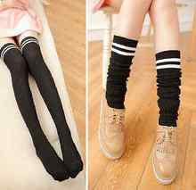 Hot Sale Fashion Women Knit Cotton Sexy Over The Knee Long Striped Thigh High Socks