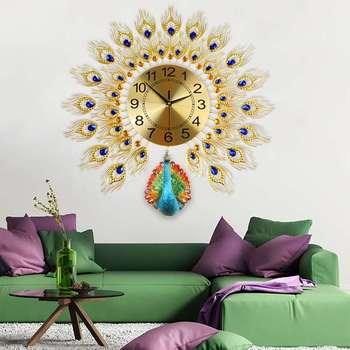 DIY European Peacock Mute Clock Modern Home Living Room Wall Clock Creatives 3D Reloj De Pared Fashion Decorative Quartz Clock