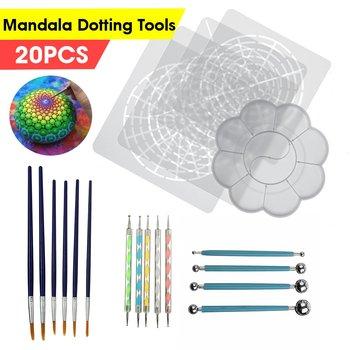 20 sztuk Mandala rozsianych narzędzia do malowania skał Mandala malowanie rozsianych wzornik Dot Mandala DIY Kit tanie i dobre opinie CN (pochodzenie) Plastic Stainless Steel Wood D65128