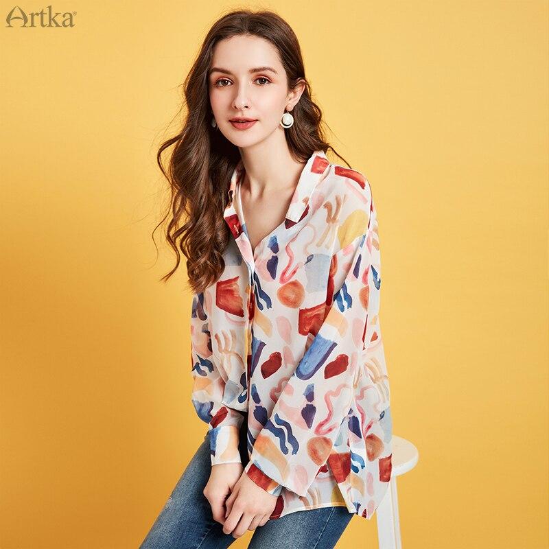 ARTKA 2020 Spring New Women's Blouse Fashion Vintage Print Chiffon Shirt Turn-down Collar Loose Chiffon Blouse Women SA20807C