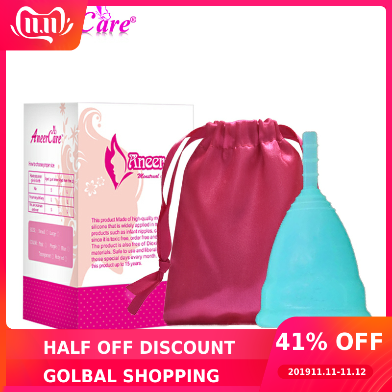 50Pcs Retail Menstrual Cup For Women Feminine Hygiene Product Medical Grade Silicone Vagina Use S/L Size For Choose Anner Cup-in Feminine Hygiene Product from Beauty & Health