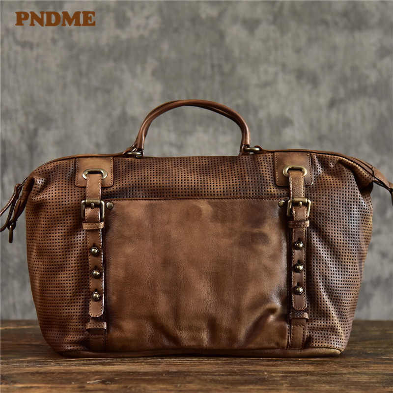 PNDME Fashion Vintage Genuine Leather Men's Briefcase Casual Designer High Quality Cowhide Luxury Business Laptop Shoulder Bag