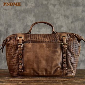 PNDME fashion vintage genuine leather mens briefcase casual designer high quality cowhide luxury business laptop shoulder bag