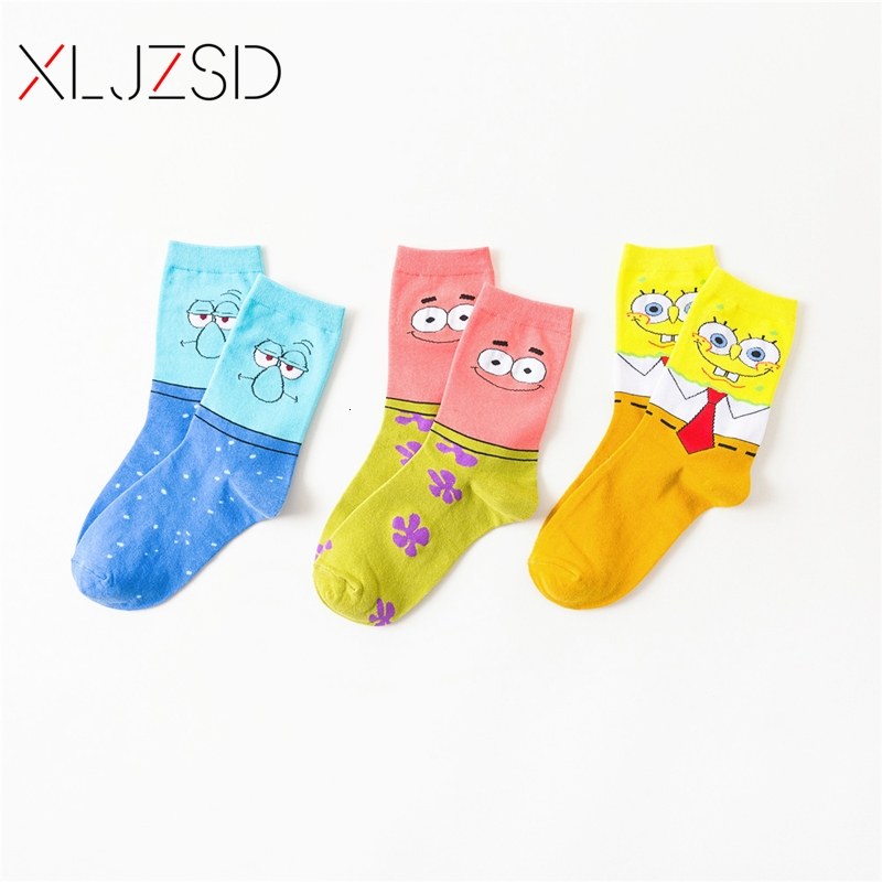1/3pair 2019 New Socks Men Cotton Male Harajuku Fashion Cartoon Cute SpongeBob Print Pattern Funny Socks Street Hip Hop Style