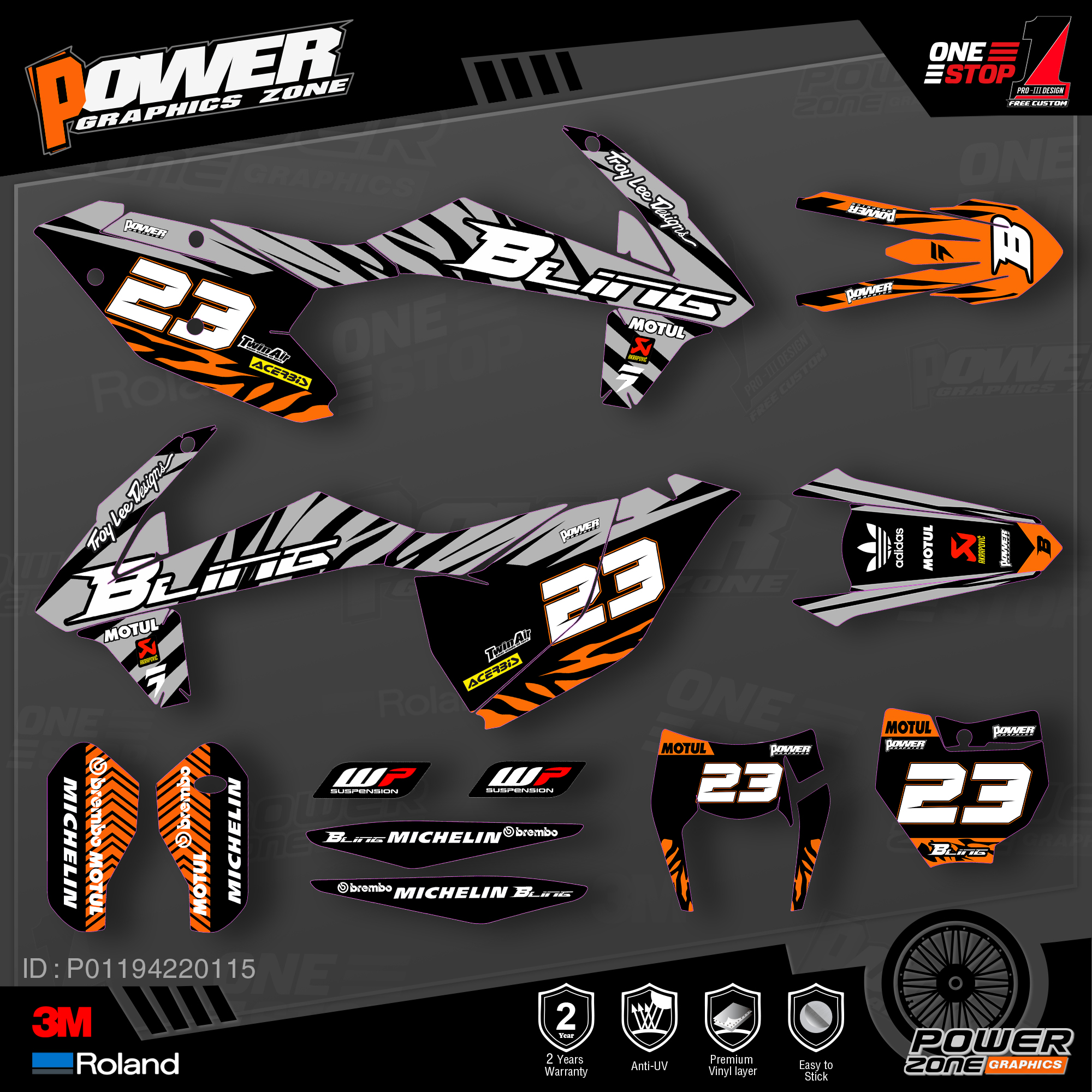 PowerZone Custom Team Graphics Backgrounds Decals 3M Stickers Kit For KTM SX SXF MX 16-18  EXC XCW Enduro 17-19 125 To 500cc 15