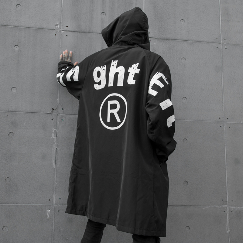 Jacket Overcoat Hooded Streetwear Print Windberaker Male Autumn Gothic Long Casual Winter