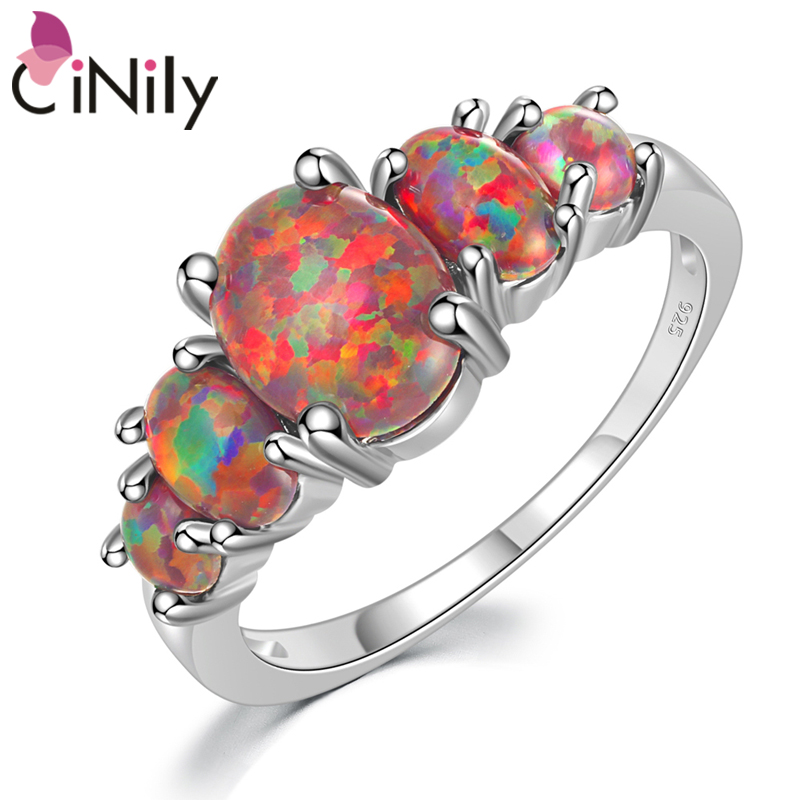 CiNily White & Orange & Blue Fire Opal Filled Rings With Round Stone Silver Plated Luxury Big Bohemia Boho Summer Jewelry Woman