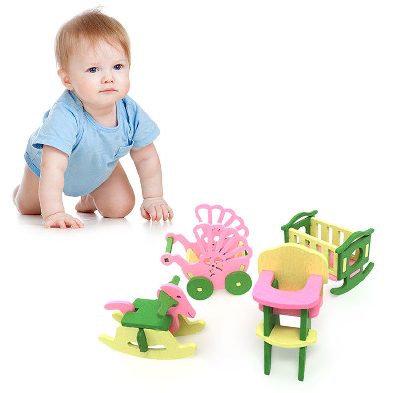 Simulation House Miniature Wooden Furniture DollHouse Accessories Toys Wood Furniture Set Dolls Baby Room For Kids Play Toy