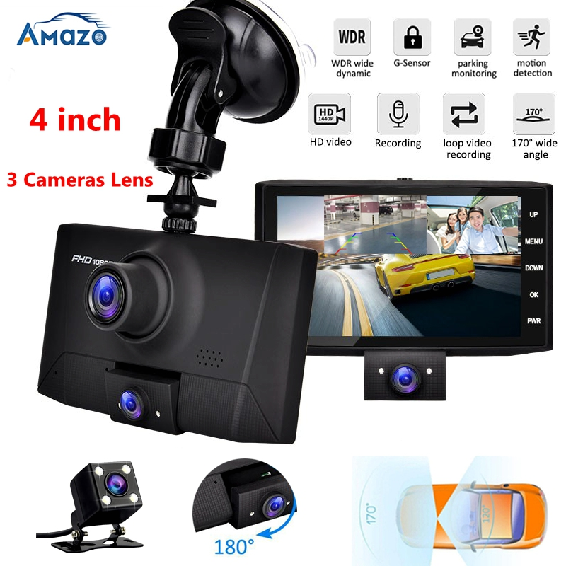 Dual Lens Dvr 3 In 1 Car DVR 3 Cameras 4 Inch HD Screen Dashcam 1080P Video Recorder Auto Registrator Parking Monitor Rearview