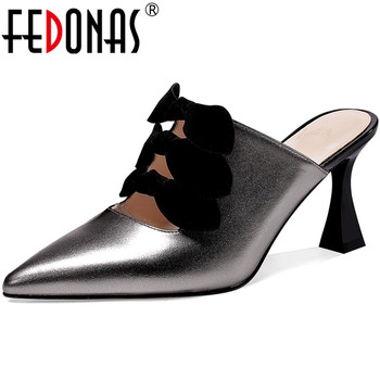 FEDONAS Sweet Butterfly Knot Cool Mules Wedding Basic High Heels Pumps Genuine Leather 2020 Spring Summer Newest Shoes Woman
