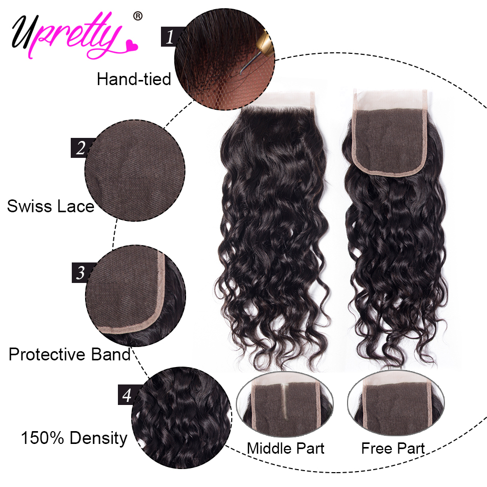 Ha9fbbee5fc664f0b84514f1588e8cd384 Upretty Hair Water Wave Bundles With Closure Wet And Wavy Human Hair 3 Bundles With Closure Mink Brazilian Hair Weave Bundles