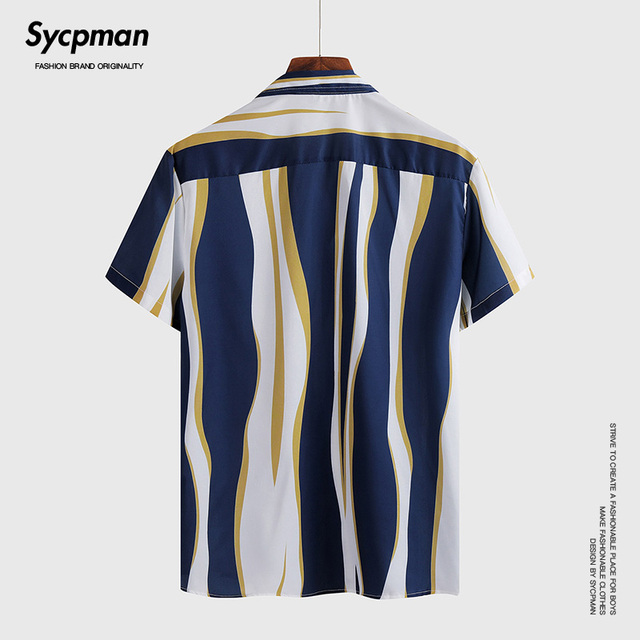 Ice silk irregular Stripe Shirt Short Sleeve men's business trip travel fashion charm personality Lapel stereo versatile lining