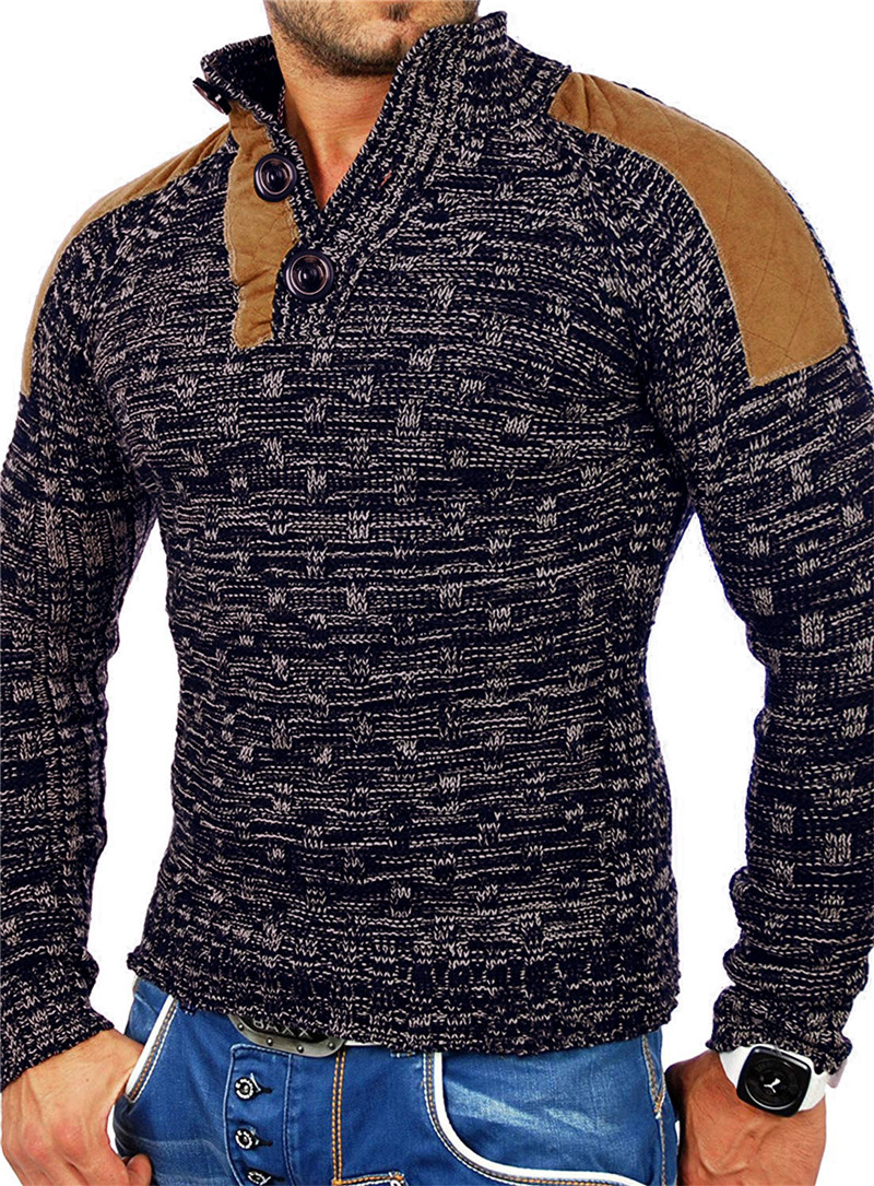 European And American Men's Collar Suede Thick Sweater Sweater Sweater Jacket, Stylish Slim Men's Sweater Jacket