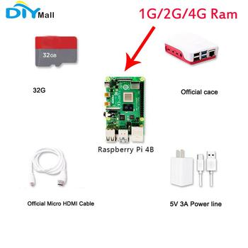 Presale DIYmall 2019 New Raspberry Pi 4 Model B Kit 1G 2G 4G Ram 1.5GHz 64-bit Quad-core SD Card Office Case HDMI Cable Power