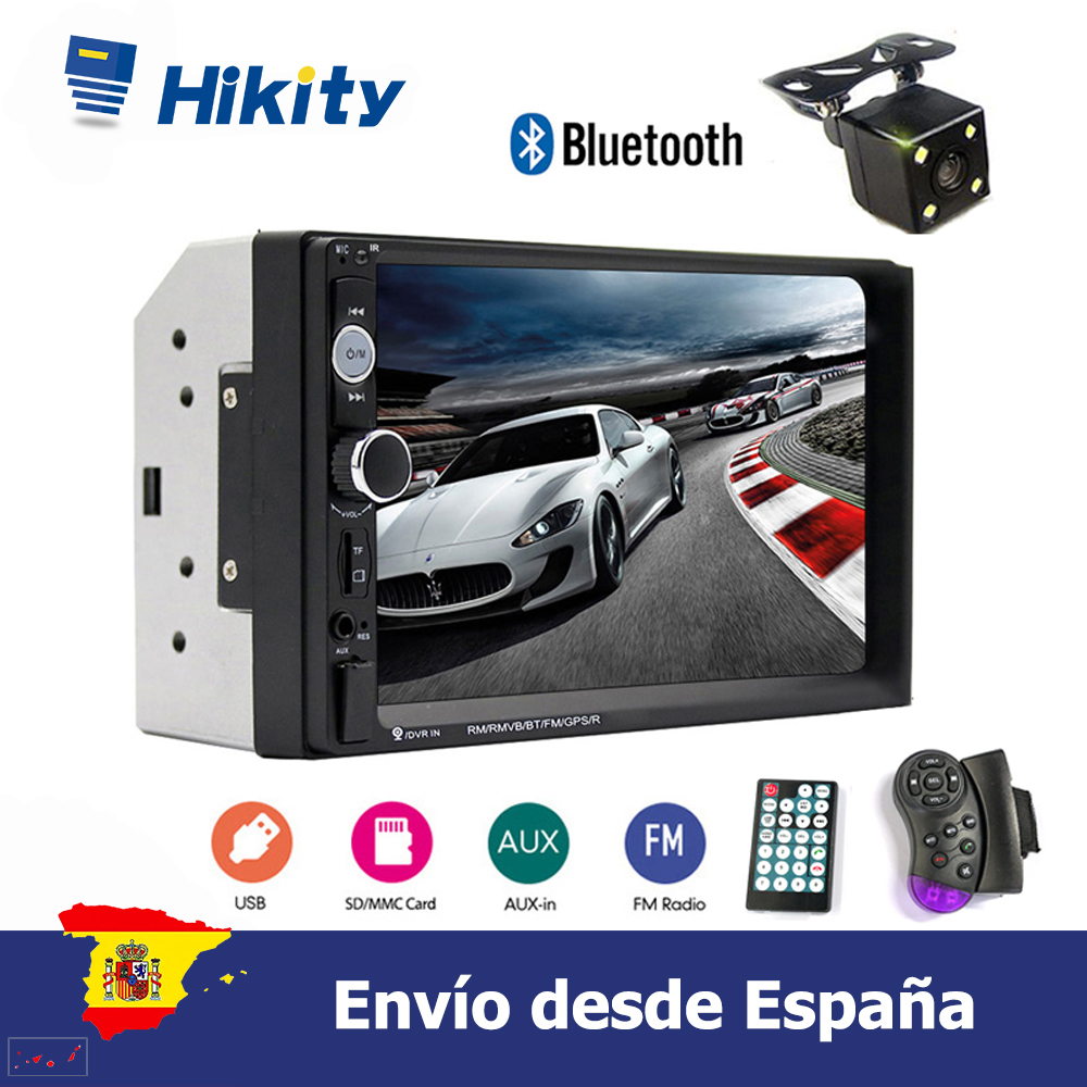 Hikity 2din Car radio 7'' HD Player MP5 Support Android Phone Mirror Link Touch screen Bluetooth <font><b>FM</b></font> AUX USB SD image