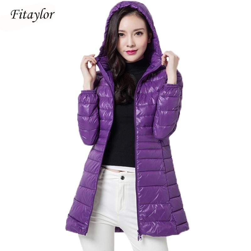 Fitaylor Winter Women Jacket Coat Slim Ultra Light 90% White Duck Down Parka Medium Long Plus Size 6xl Thickness Hooded Overcoat