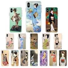 FHNBLJ Japanischen geisha für Telefon Fall Für iPhone X XS MAX 11 12 pro max 6 6s 7 7plus 8 8Plus 5 5S XR se 2020 fall