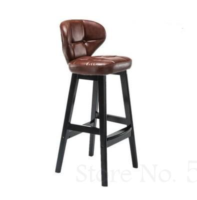 Solid Wood Bar Chair Nordic Bar Chair High Stool Home Backrest Bar Stool Creative Retro Coffee Front Bar Chair