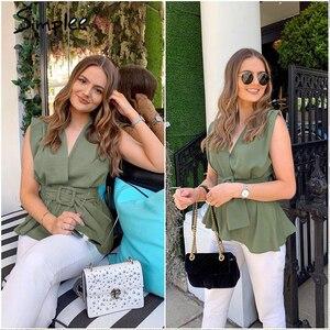 Image 2 - Simplee Elegant solid green sleeveless women tank top Feminina sexy ladies top Casual female work wear office lady tops camis