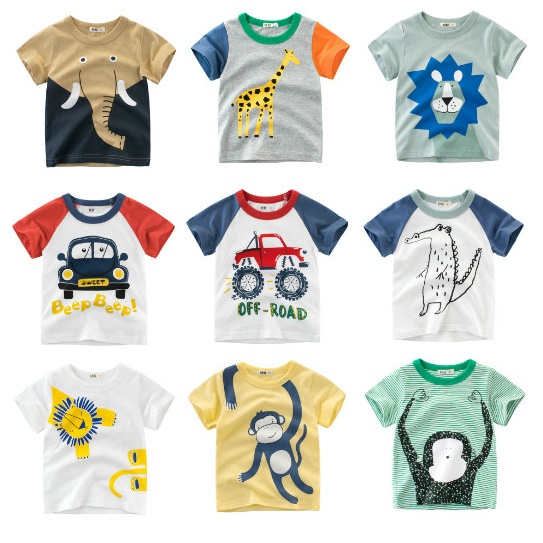 Kids T-Shirts Tops Children Tee Lion Elephant Giraffe Toddler Baby-Boy Cartoon Print