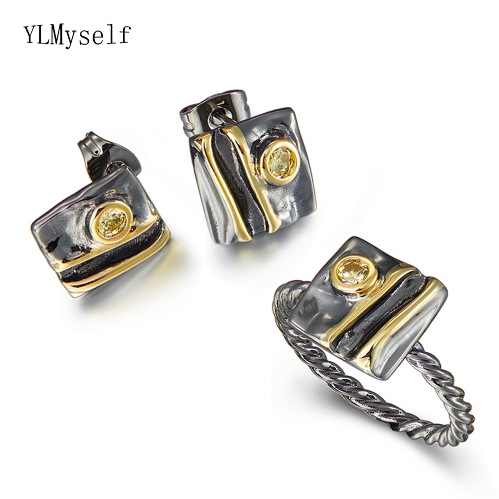 Square Stud Earrings ring sets Golden stone Vintage statement Jewellery Mother's Jewelry 2pcs set Wife Gift