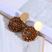2019 New Direct Selling Vintage Earing Handmade Beaded Wooden Retro Earrings Lovely Temperament Female Korean Geometric Stud(China)