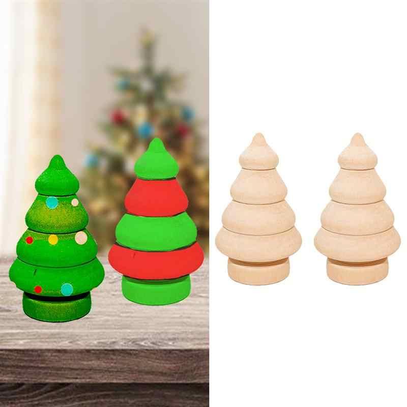 20pcs Natural Wooden DIY Painting Christmas Tree Snowman Crafts Xmas  Ornament DIY Blank Dolls Classroom Home Party Decor A35