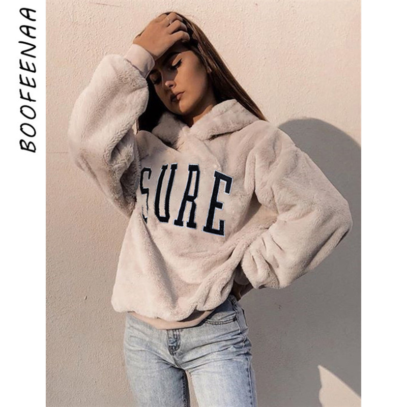 BOOFEENAA Casual Oversized Hoodie Pullover Sweatshirt Letter Embroidery Cute Fluffy Hoodies Women Clothes Winter 2019 C67-AH00