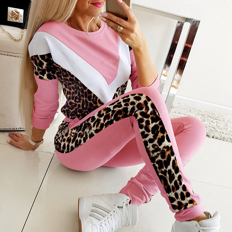 Fashion Women Tracksuit Top Long Pant Sets Suit Autumn Winter Leopard Print Pocket Pink Black 2 Piece Sets Casual Outfits G1025