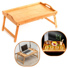 Wooden Folding Laptop Table Breakfast Serving Bed Trays, Adjustable Foldable with Flip Top and Legs Computer desk stand