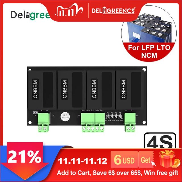 Qnbbm 4s 12vリチウム電池イコライザーバランサbmsリチウムイオンLiFePO4 lto lincm lmo 18650 diyパック保護