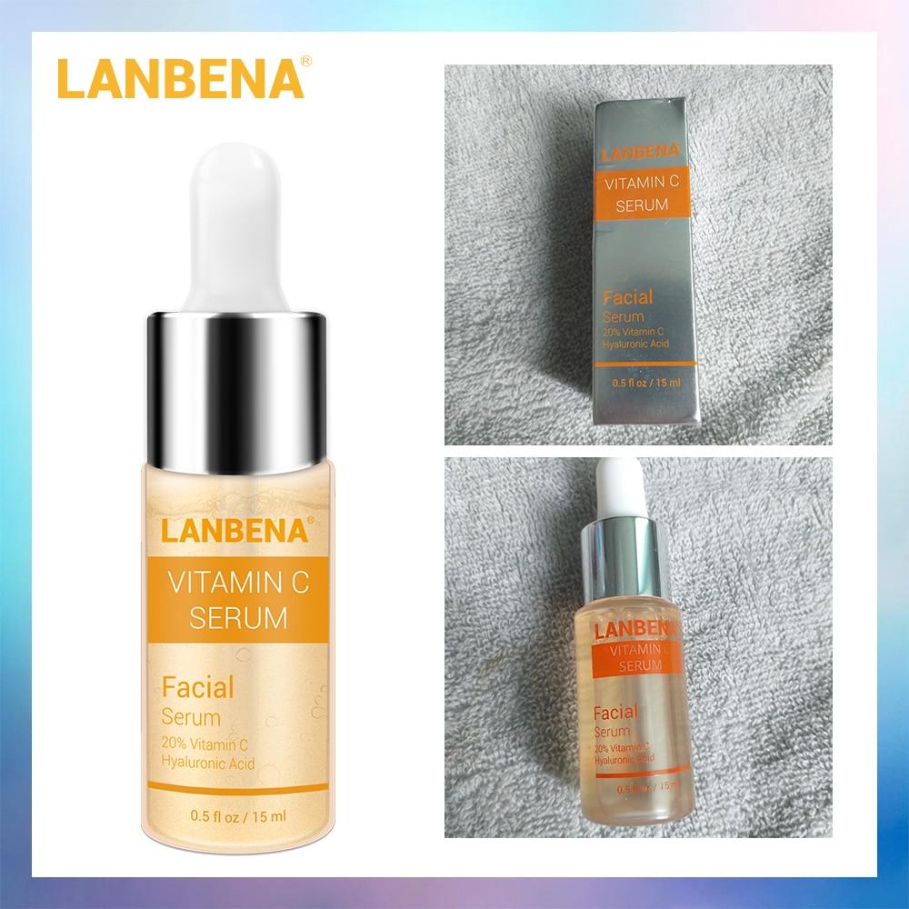 LANBENA Vitamin C Whitening Serum Hyaluronic Acid Face Cream Snail Remover Freckle Speckle Fade Dark Spots Anti-Aging Skin Care