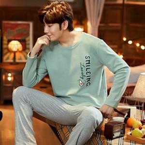 Зима и осень мужские пижамы хлопок с длинным рукавом Повседневные пижамы зеленый авокадо мужские пижамы набор хеджирования размера плюс ...
