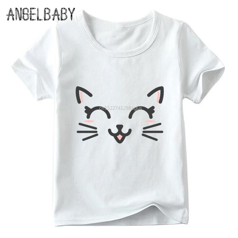 Children Cute Flower Cat Face Funny T shirt Summer Baby Boys/Girls Cartoon Tops Short Sleeve T-shirt Kids Clothes 3