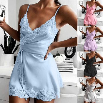 2021 Sexy Satin Sleepwear Women Sleep&Lounge Silk Robes Nightgowns Female Lace Nightdress Pyjama Winter Bathrobe Home Suit image