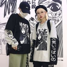 Harajuku Japanese Anime Print Women Sweatshirt Fake 2 Pieces O-Neck Long Sleeve Casual Loose Female Streetwear
