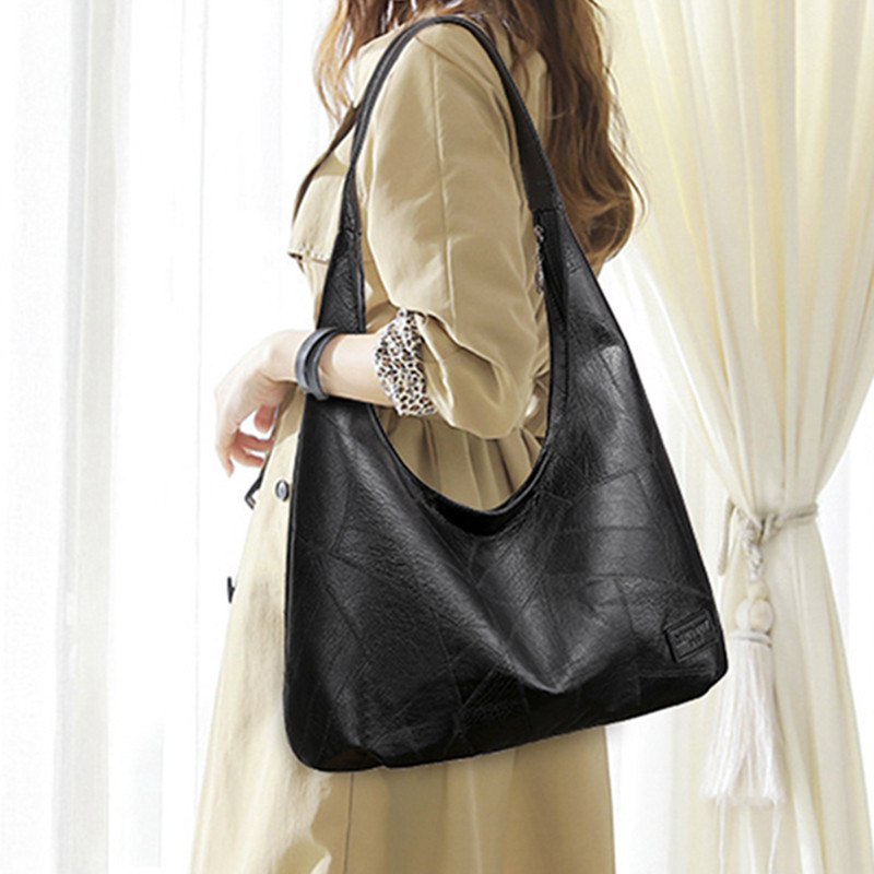 Купить черные сумки хобо женская сумочка 2020 большие кожаные женские