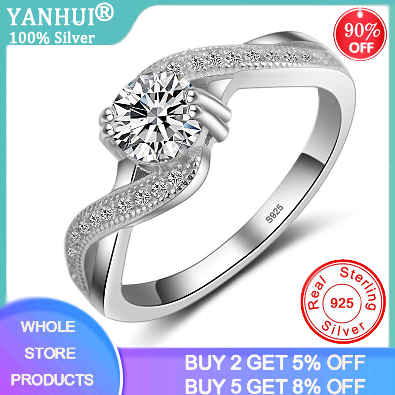 YANHUI Unique Double Claw Inlay 6mm 1 Carat Zirconia Diamond Ring Original 925 Sterling Silver Wedding Rings For Women R042