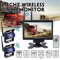 Wireless 2 Car Backup Cameras Waterproof 18 IR Night Vision + 7 Inch HD Monitor Rear View Monitor For Truck /Trailer/RV Car Came